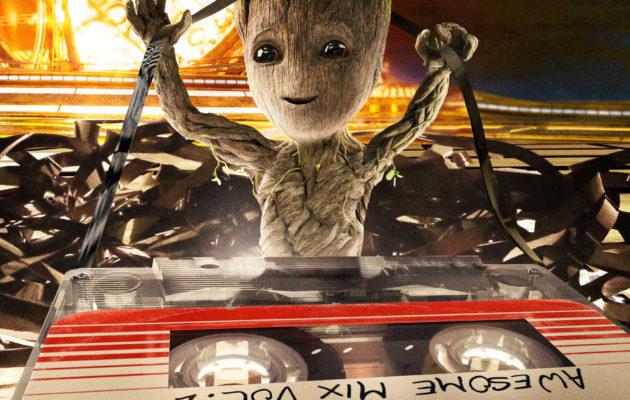 Kuva: Groot pilaa hyvän C-kasetin Empiren Guardians of the Galaxy 2 -kannessa
