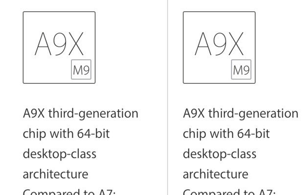 Apple A9X:n kaksi eri versiota