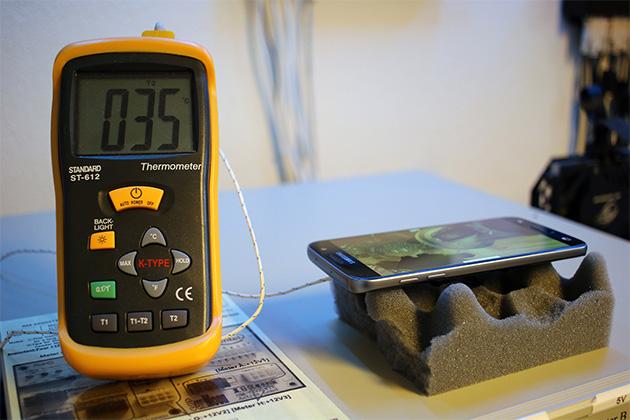 Samsung Galaxy S7 ja lämpömittari