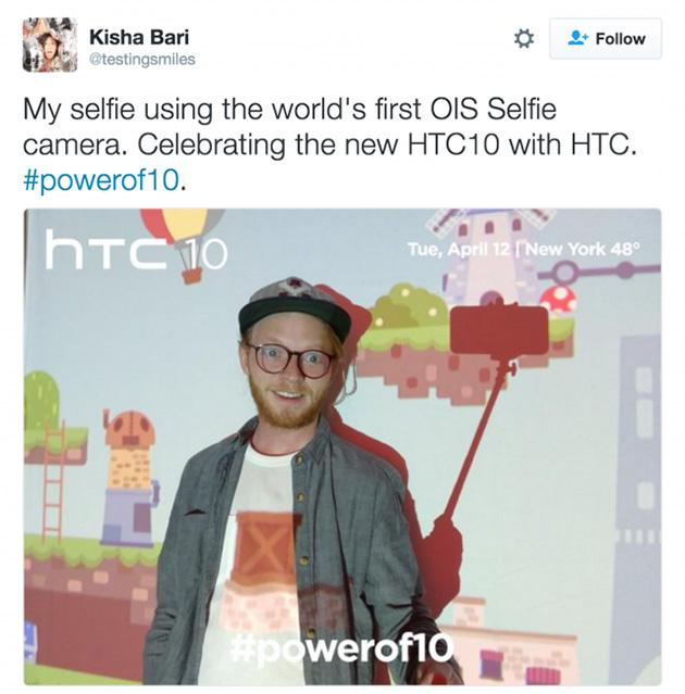 HTC 10:n selfiekamera on varustettu twiitin mukaan OIS:lla