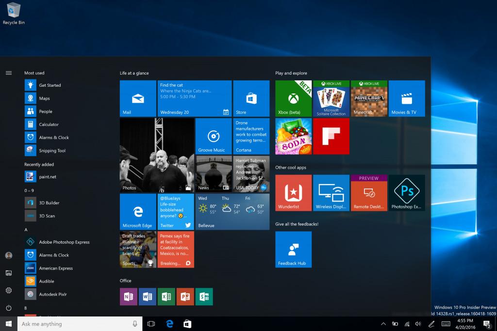 Windows 10:n päivitetty Käynnistä-valikko