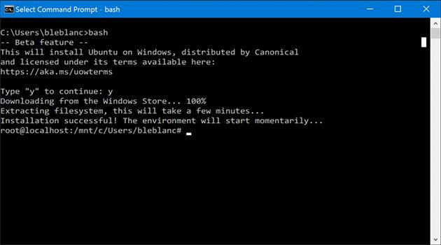 Windows 10:n Bash-komentotulkki