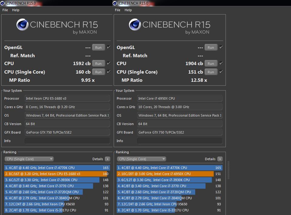 Intel Core i7-6950X Cinebench