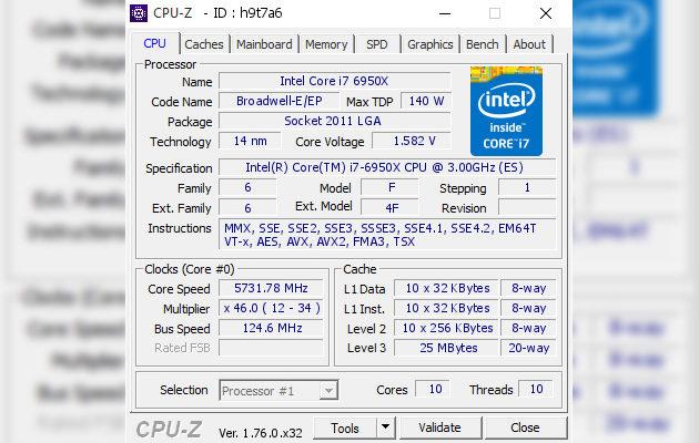 Elmorin ylikellotusennätys Core i7-6950X:llä