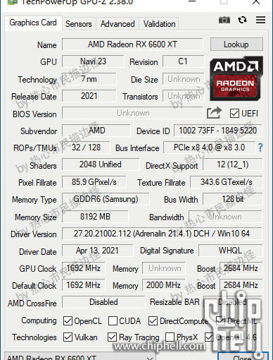 RX 6600 XT GPU-Z kuvaus