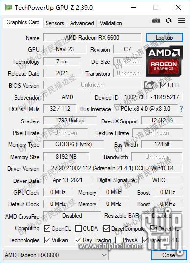 RX 6600 GPU-Z kuvaus